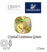 SWAROVSKI® ELEMENTS 4470 Square Rhinestone - Crystal Luminous Green, 12mm, bal.1ks